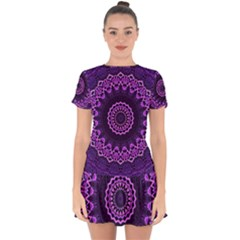 Mandala Purple Mandalas Balance Drop Hem Mini Chiffon Dress