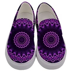 Mandala Purple Mandalas Balance Men s Canvas Slip Ons