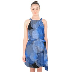 Circle Rings Abstract Optics Halter Collar Waist Tie Chiffon Dress