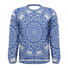 Blue Mandala Kaleidoscope Men s Long Sleeve Tee