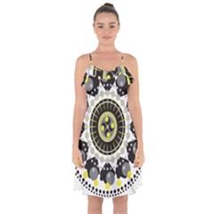 Mandala Geometric Design Pattern Ruffle Detail Chiffon Dress