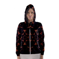 Mandala Fire Mandala Flames Design Hooded Wind Breaker (women)