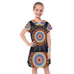 Colorful Prismatic Chromatic Kids  Drop Waist Dress