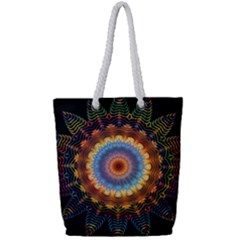 Colorful Prismatic Chromatic Full Print Rope Handle Tote (small)