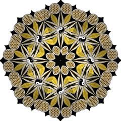Mandala Yin Yang Live Flower Hook Handle Umbrellas (small)
