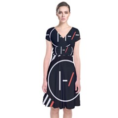 Twenty One Pilots Poster Short Sleeve Front Wrap Dress