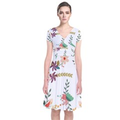 Floral Backdrop Pattern Flower Short Sleeve Front Wrap Dress