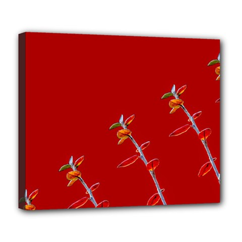 Red Background Paper Plants Deluxe Canvas 24  X 20