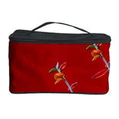 Red Background Paper Plants Cosmetic Storage Case