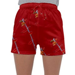 Red Background Paper Plants Sleepwear Shorts