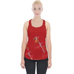 Red Background Paper Plants Piece Up Tank Top
