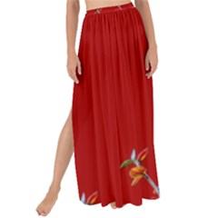 Red Background Paper Plants Maxi Chiffon Tie Up Sarong