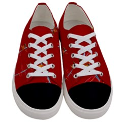Red Background Paper Plants Women s Low Top Canvas Sneakers