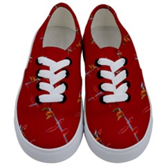 Red Background Paper Plants Kids  Classic Low Top Sneakers