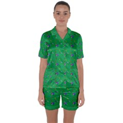 Bird Blue Feathers Wing Beak Satin Short Sleeve Pyjamas Set