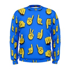 Emojis Hands Fingers Background Men s Sweatshirt