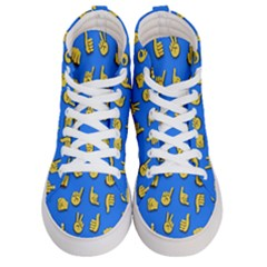 Emojis Hands Fingers Background Men s Hi Top Skate Sneakers