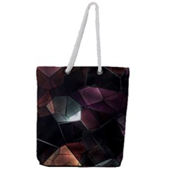 Crystals Background Design Luxury Full Print Rope Handle Tote (large)