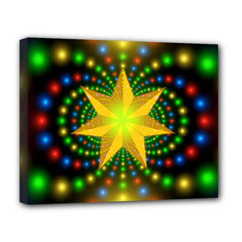 Christmas Star Fractal Symmetry Deluxe Canvas 20  X 16