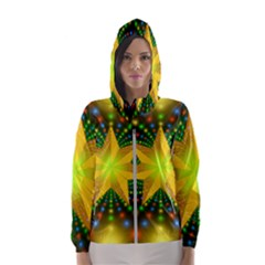 Christmas Star Fractal Symmetry Hooded Wind Breaker (women)