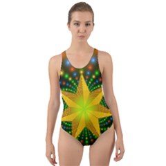 Christmas Star Fractal Symmetry Cut Out Back One Piece Swimsuit