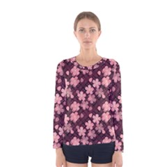Cherry Blossoms Japanese Style Pink Women s Long Sleeve Tee