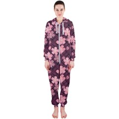 Cherry Blossoms Japanese Style Pink Hooded Jumpsuit (ladies)