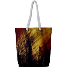 Refinery Oil Refinery Grunge Bloody Full Print Rope Handle Tote (small)