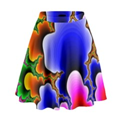 Fractal Background Pattern Color High Waist Skirt