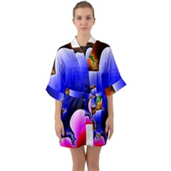Fractal Background Pattern Color Quarter Sleeve Kimono Robe
