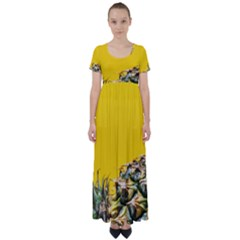 Pineapple Raw Sweet Tropical Food High Waist Short Sleeve Maxi Dress