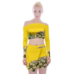 Pineapple Raw Sweet Tropical Food Off Shoulder Top With Mini Skirt Set