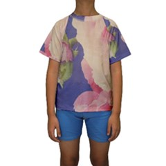 Fabric Textile Abstract Pattern Kids  Short Sleeve Swimwear