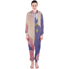 Fabric Textile Abstract Pattern Hooded Jumpsuit (ladies)