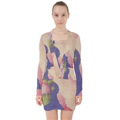 Fabric Textile Abstract Pattern V Neck Bodycon Long Sleeve Dress