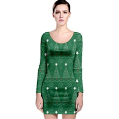 Christmas Tree Holiday Star Long Sleeve Bodycon Dress