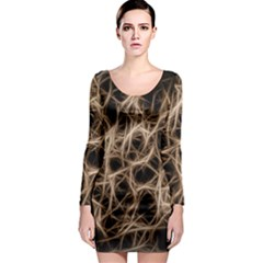 Structure Background Pattern Long Sleeve Bodycon Dress