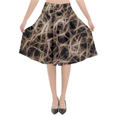 Structure Background Pattern Flared Midi Skirt
