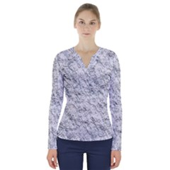 Pattern Background Old Wall V Neck Long Sleeve Top