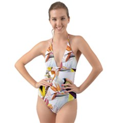 Exotic Birds Of Paradise And Flowers Watercolor Halter Cut Out One Piece Swimsuit