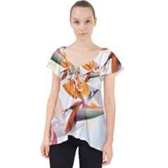 Exotic Birds Of Paradise And Flowers Watercolor Lace Front Dolly Top
