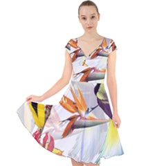 Exotic Birds Of Paradise And Flowers Watercolor Cap Sleeve Front Wrap Midi Dress