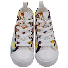 Exotic Birds Of Paradise And Flowers Watercolor Kid s Mid Top Canvas Sneakers