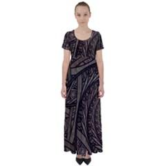 Abstract Pattern Graphics High Waist Short Sleeve Maxi Dress