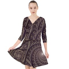 Abstract Pattern Graphics Quarter Sleeve Front Wrap Dress
