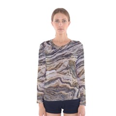 Texture Marble Abstract Pattern Women s Long Sleeve Tee