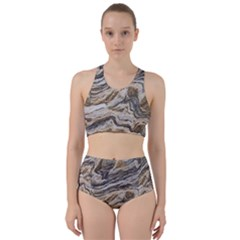 Texture Marble Abstract Pattern Racer Back Bikini Set