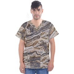 Texture Marble Abstract Pattern Men s V Neck Scrub Top