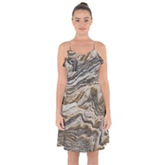 Texture Marble Abstract Pattern Ruffle Detail Chiffon Dress