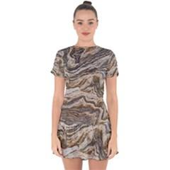 Texture Marble Abstract Pattern Drop Hem Mini Chiffon Dress